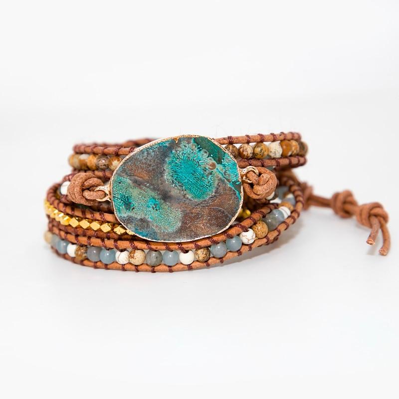 Bracelet bohème en pierre naturelle - cuir ou vegan - BOHAI