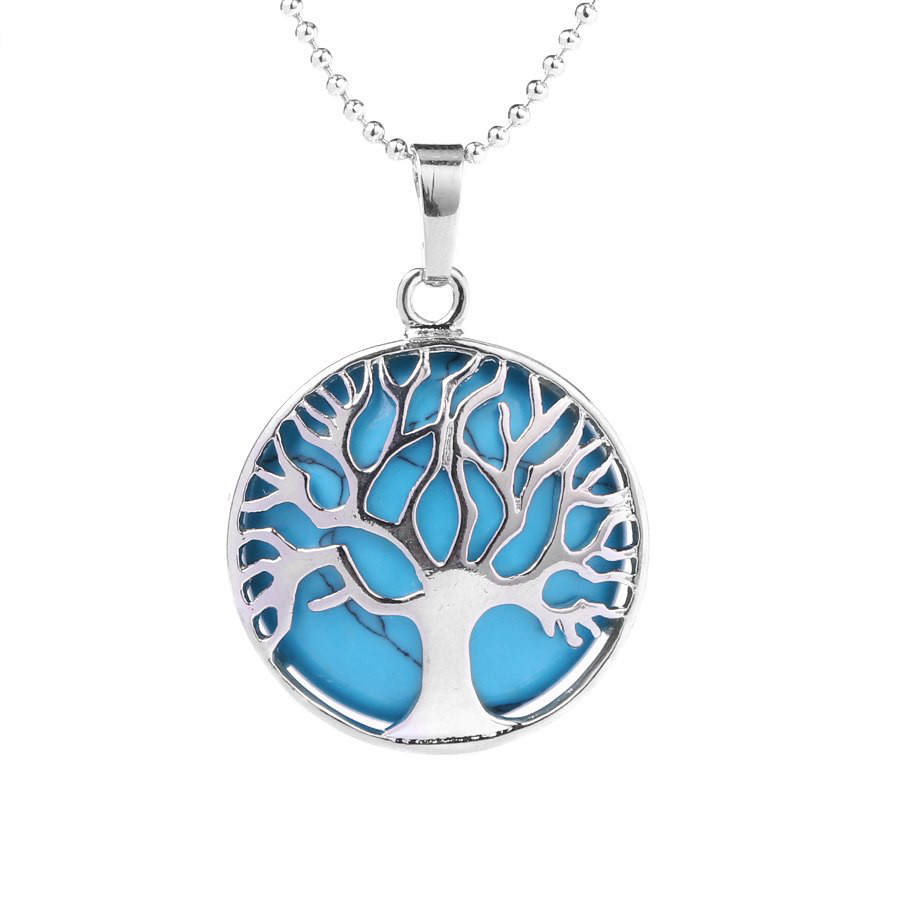 Collier - pendentif arbre de vie - pierre semi précieuse
