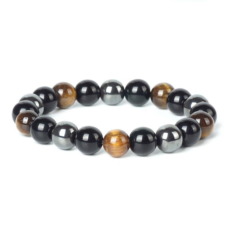 Bracelet en pierres naturelles -  hématite -  oeil de tigre - obsidienne