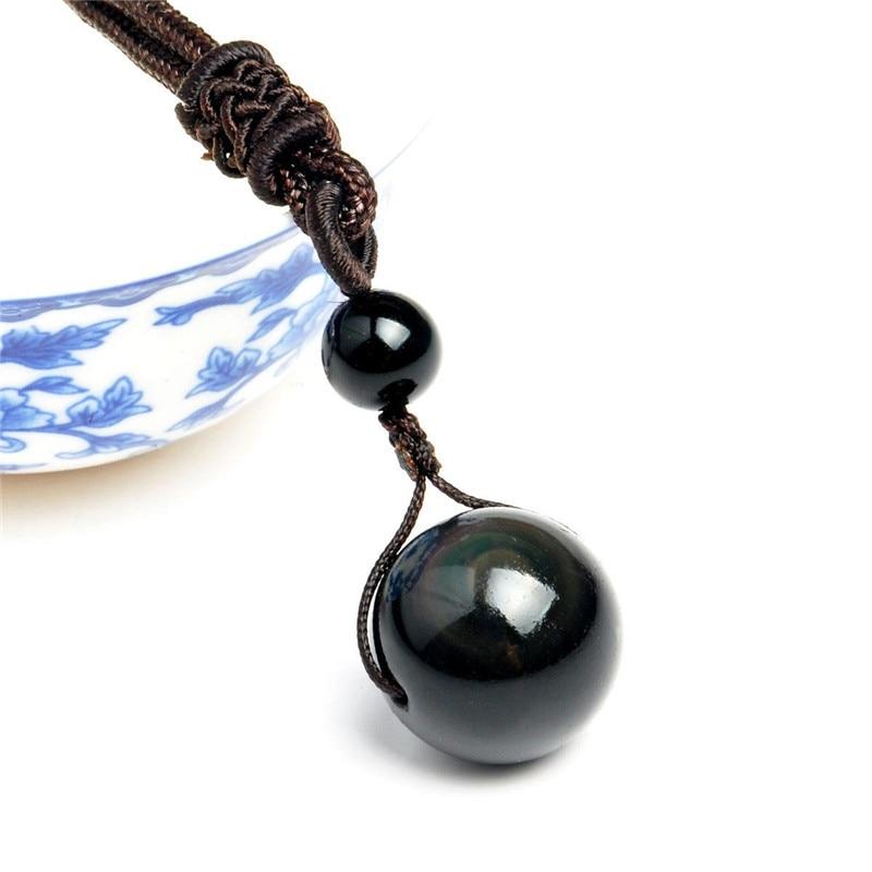 Collier pendentif boule sphère en pierre d'obsidienne noire arc en ciel