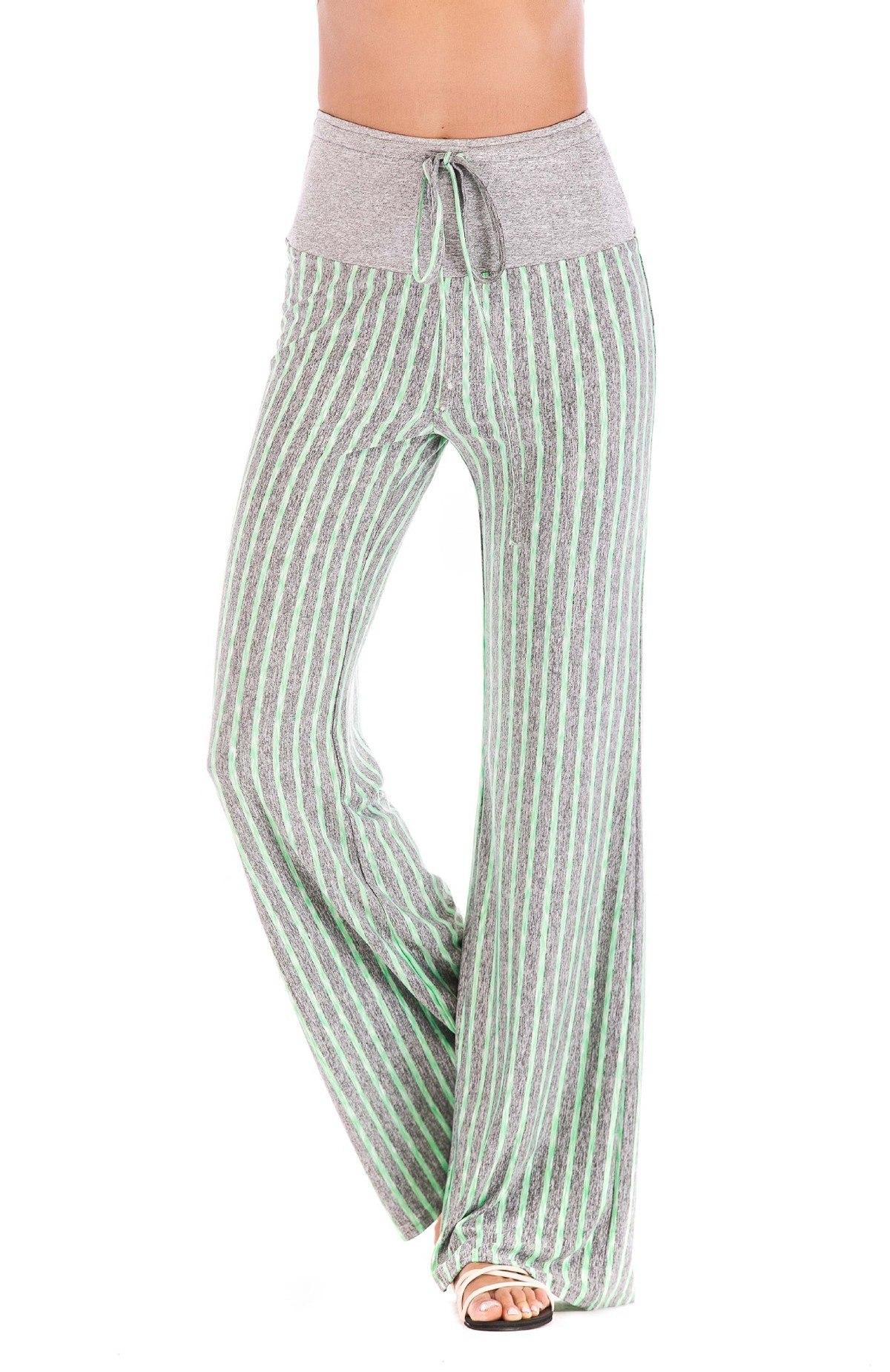 Pantalon de yoga pour femme ton bleu gris large ligne évasé