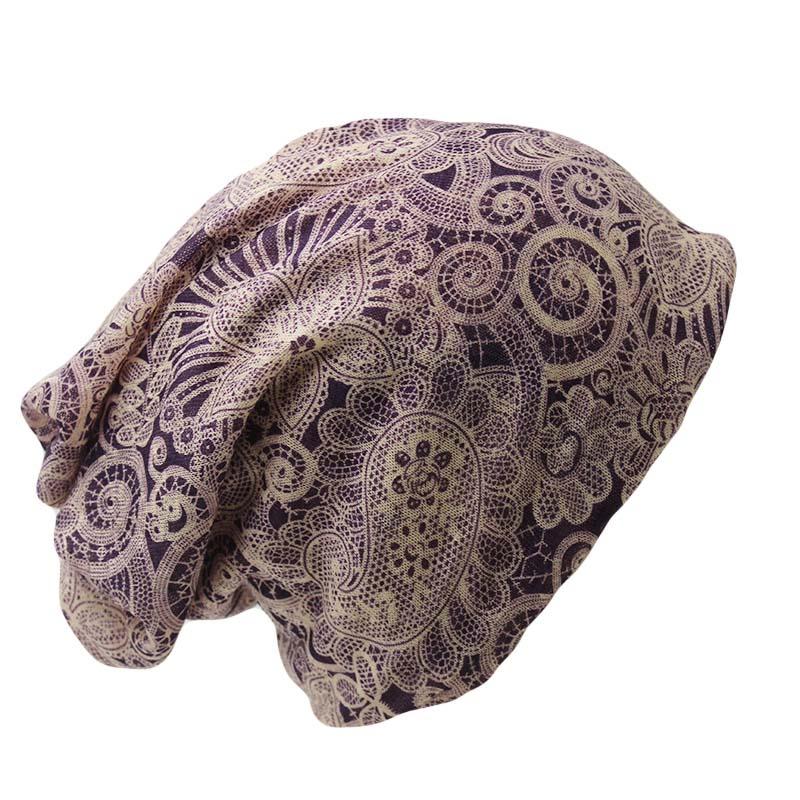 Chapeau bonnet et cache cou décontracté adulte femmes Floral écharpe mode bonnets skullies