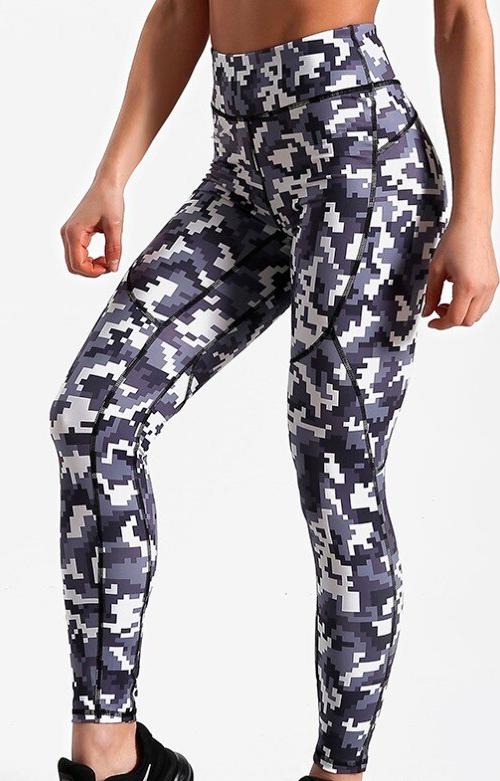 Leggings pixel camouflage fitness pour femme extensibles
