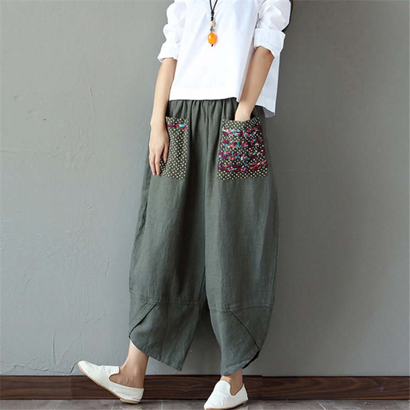 Pantalon Sarouel Femme Vintage coton large style Hippie