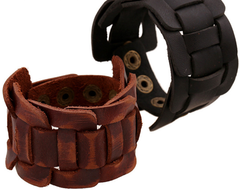 nouvelle mode hommes large Bracelet en cuir