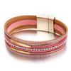 17-km-Nouvelle-Or-Gain-de-Cuir-Bracelets-Pour-Femmes-Rouge-Ruban-Couleur-Multiples-Couches-Charme