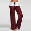 Femmes-Patchwork-Boot-Cut-Pantalon-Marque-de-Haute-Taille-lastique-Pantalon-Large-de-Jambe-Compl-te