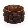 ZORCVENS-fait-la-main-en-cuir-v-ritable-Bracelets-marque-de-mode-marron-Punk-large-manchette