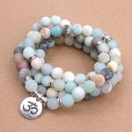 Mode-Femmes-de-bracelet-Mat-Givr-Amazonite-perles-avec-Lotus-OM-Bouddha-Charme-De-Yoga-Bracelet