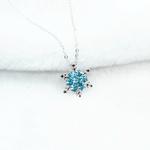 Bijoux-de-mode-En-Cristal-Bleu-Strass-colliers-et-pendentifs-Belle-Flocon-De-Neige-Fleur-Collier