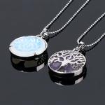 woogalf-dos-face-naturel-rond-pierre-gemme-kabbale-arbre-de-vie-colliers-pendentifs-rose-quartz-cristal-blanc-lapis