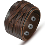 BAMOER-Bracelet-en-cuir-v-ritable-noir-et-marron-avec-boucle-en-alliage-r-glable-mode
