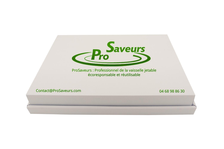 Plateau cocktail personnalisé en carton cannelure blanc et logo ProSaveurs