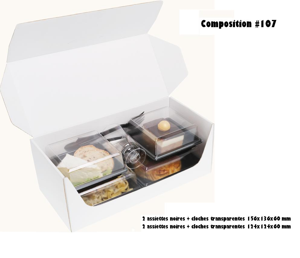 Coffrets repas 330x155x125 mm personnalisés vendus en kit complet de 400 pièces (compo 107)