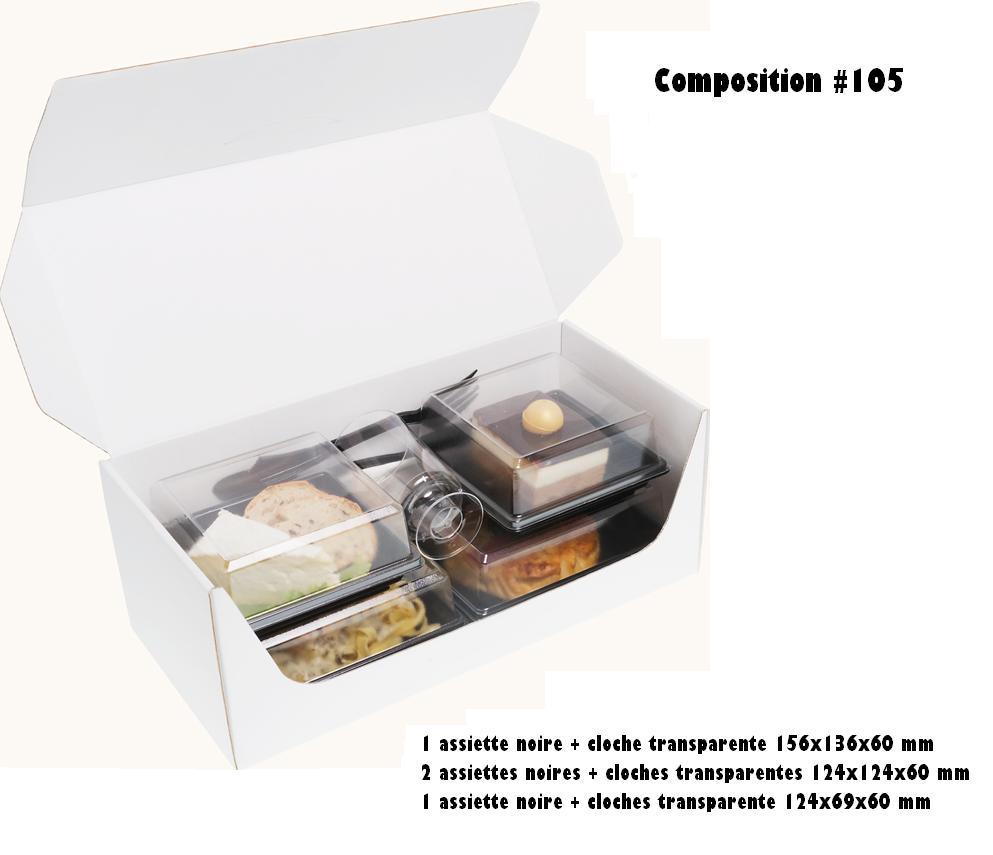 Coffrets repas 330x155x125 mm personnalisés vendus en kit complet de 400 pièces (compo 105)