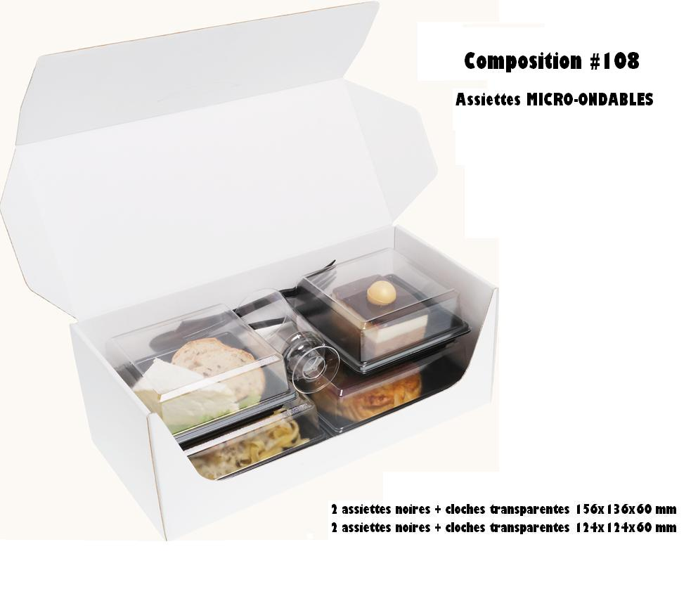 Coffrets repas 330x155x125 mm personnalisés vendus en kit complet de 400 pièces (compo 108)