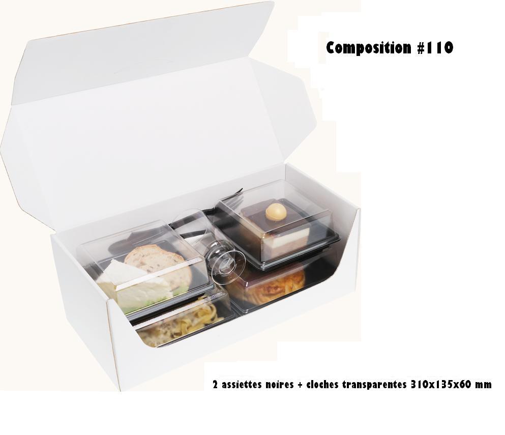 Coffrets repas 330x155x125 mm personnalisés vendus en kit complet de 400 pièces (compo 110)