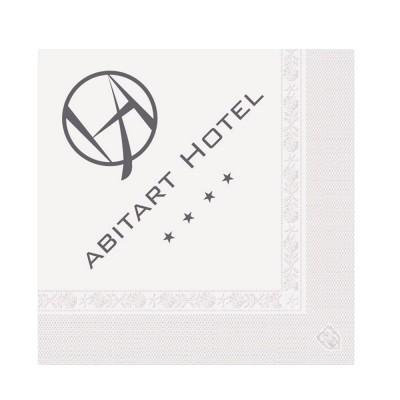 Serviettes ouate 40x40 cm 3 plis personnalisées avec votre logo 1 couleur (dès 8 cartons)