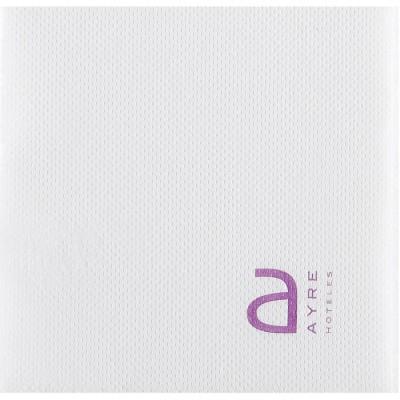 Serviettes en ouate micro-gaufrée 20x20 cm personnalisées avec votre logo 1 couleur (dès 7 cartons)