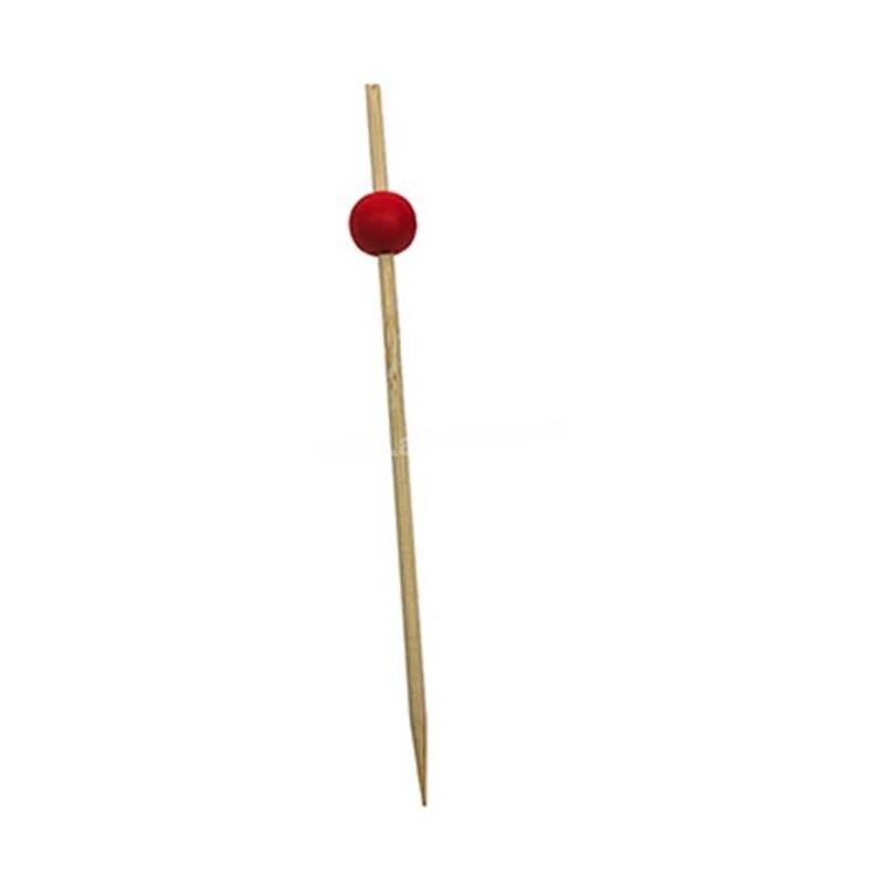 Piques cocktail bambou Boule Rouge 12 cm en paquet de 100