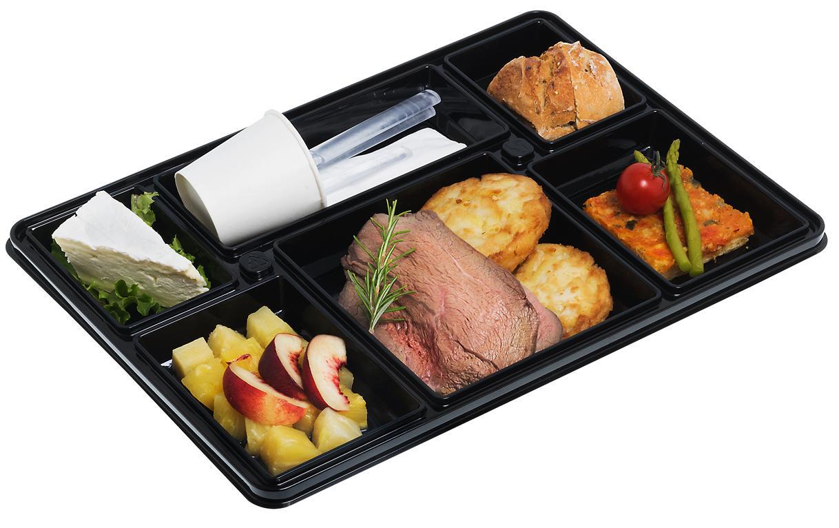 Plateau-repas en plastique recyclable 6 compartiments 380x274x60 mm et ses coupelles MO vendus par 100