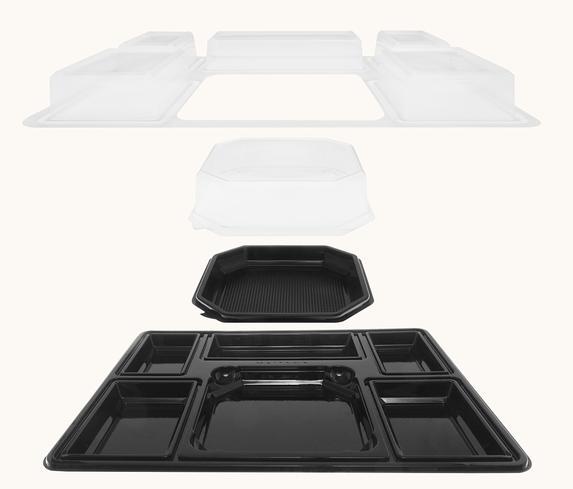 Plateau-repas en plastique recyclable 5 compartiments 430x325x60 mm vendus par 100