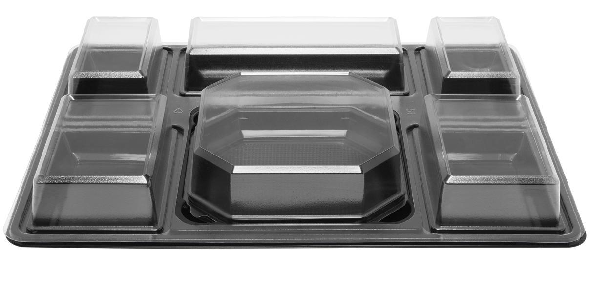 Plateau-repas en plastique recyclable 5 compartiments 430x325x60 mm et ses coupelles MO vendus par 100