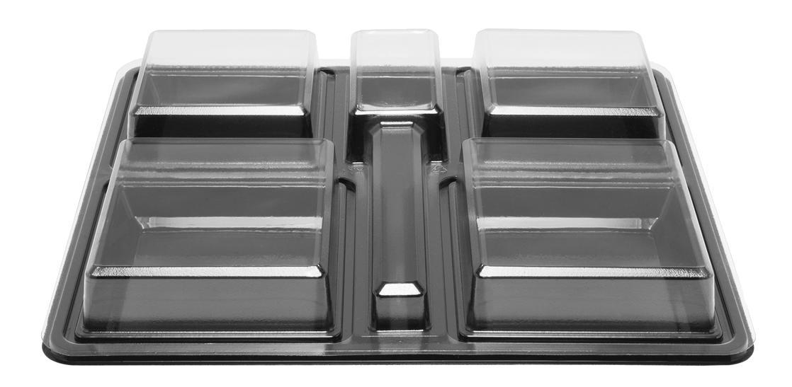 Plateau-repas noir en plastique recyclable 4 compartiments 360x325x60 mm et ses coupelles MO vendus par 100