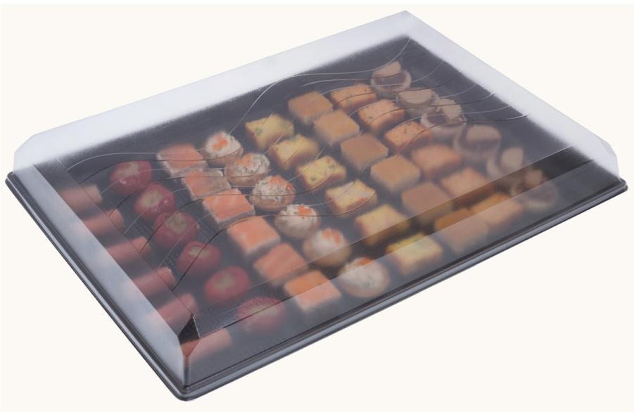 Plateau cocktail cristal 0.5 + couvercle en plastique 380 x 274 mm vendus par 100