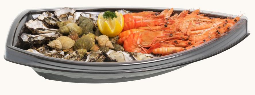 Plateau pour fruits de mer en plastique recyclable 519 x 329 x 97 mm vendus par 100