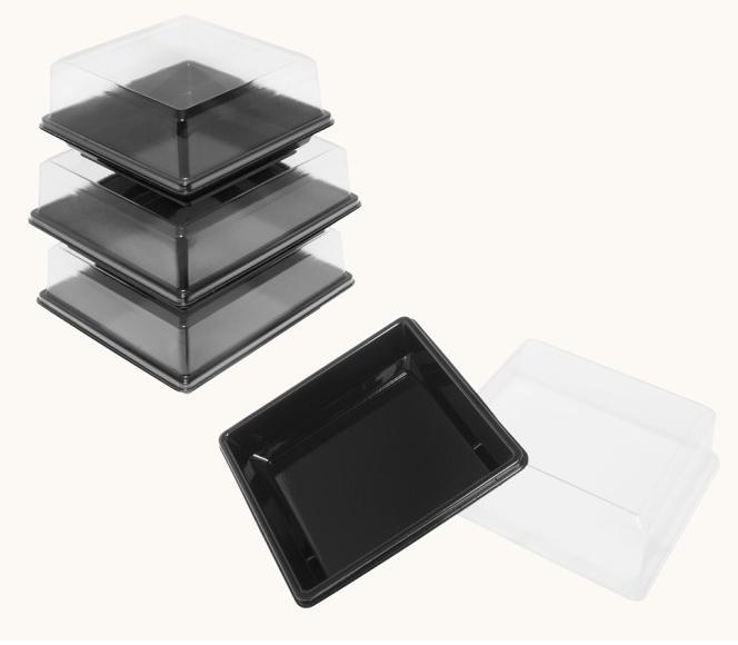 Assiettes en plastique recyclable + couvercle 124x124x60 mm vendues par 400