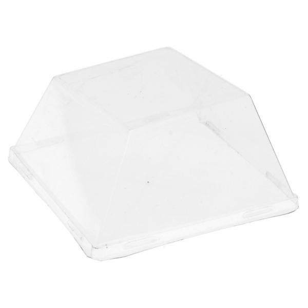 Couvercles recyclables pour assiettes en pulpe de canne à sucre 90x90x15 mm en paquet de 50