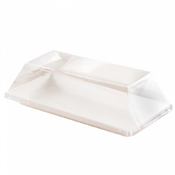 Couvercles recyclables pour assiettes en pulpe de canne à sucre 180x90x15 mm en paquet de 50