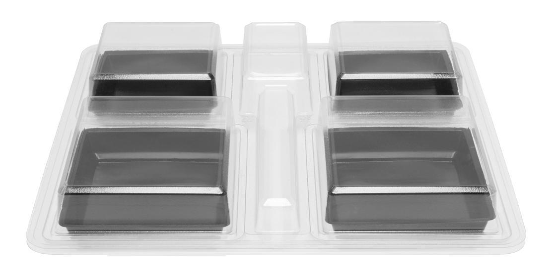 Plateau-repas cristal en plastique recyclable 4 compartiments 360x325x60 mm et ses coupelles MO vendus par 100