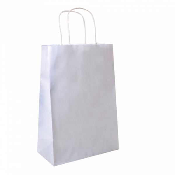 Sacs en papier blanc 26+14x32 cm personnalisés avec votre logo 1 couleur (dès 25 cartons)