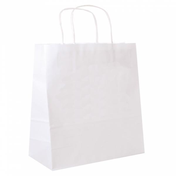 Sacs en papier blanc 32+16x31 cm personnalisés avec votre logo 1 couleur (dès 25 cartons)