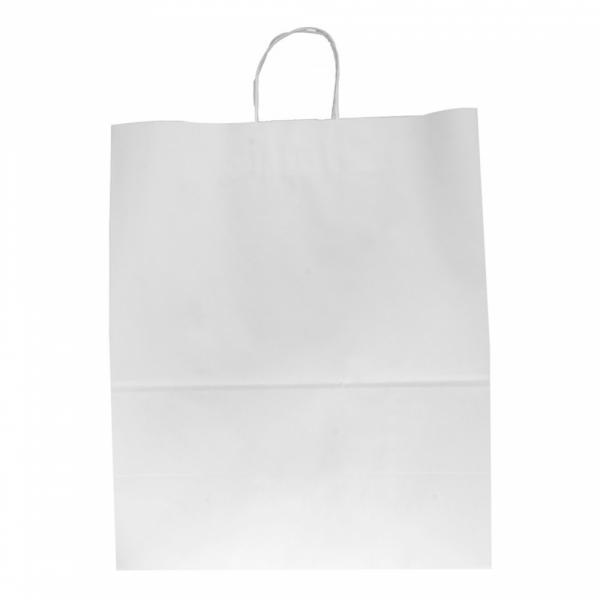 Sacs en papier blanc 40+20x48 cm personnalisés avec votre logo 1 couleur (dès 25 cartons)