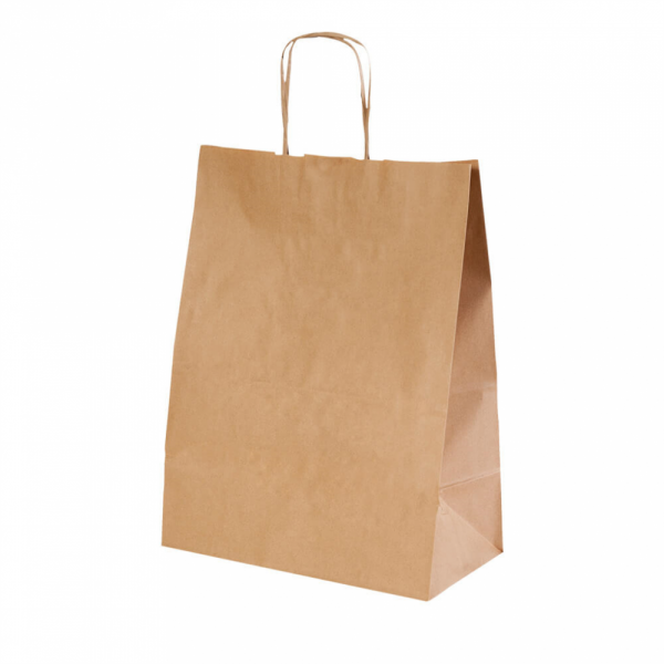 Sacs en papier écru 32+16x43 cm personnalisés avec votre logo 1 couleur (dès 25 cartons)