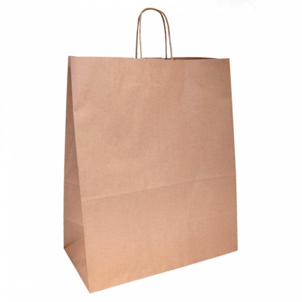 Sacs en papier écru 40+20x48 cm personnalisés avec votre logo 1 couleur (dès 25 cartons)