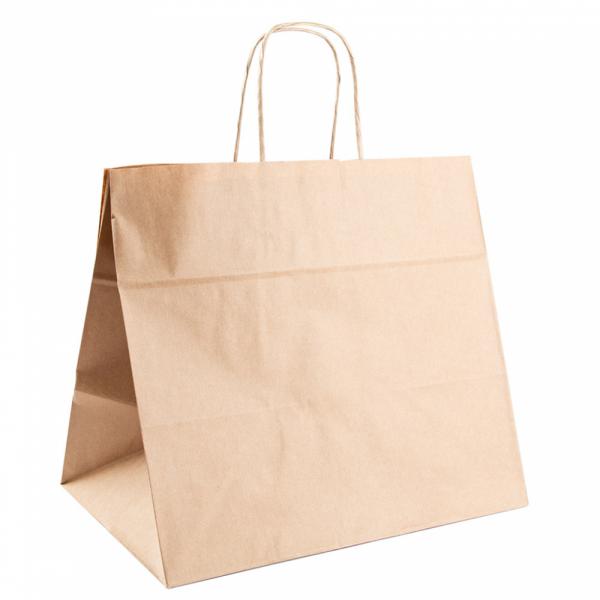 Sacs traiteur en papier écru 32+21x28.5 cm personnalisés avec votre logo 1 couleur (dès 25 cartons)