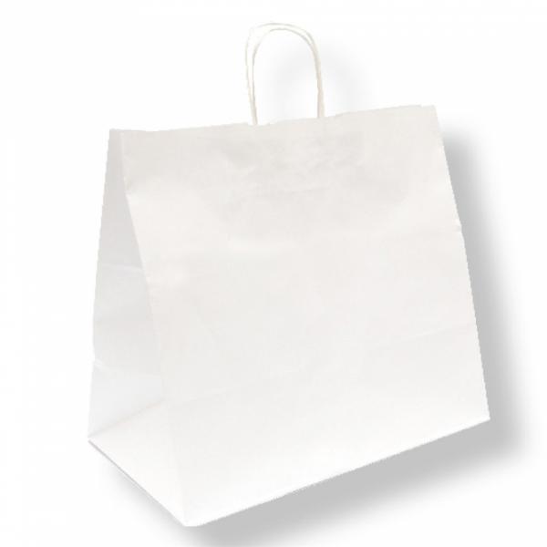 Sacs traiteur en papier blanc 36+21x33.5 cm personnalisés avec votre logo 1 couleur (dès 25 cartons)