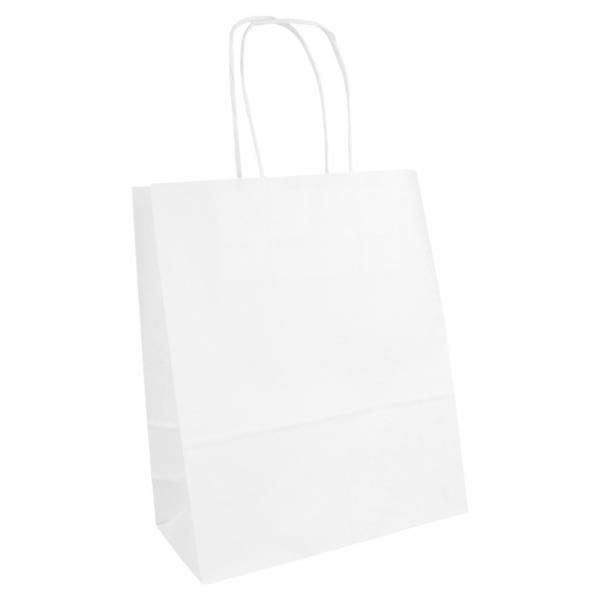 Sacs en papier blanc 18+8x21.5 cm personnalisés avec votre logo 2 couleurs (dès 25 cartons)