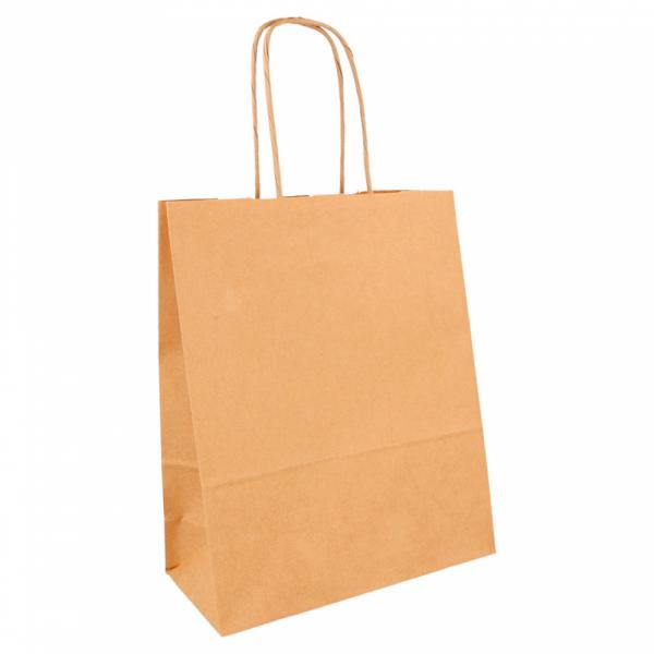 Sacs en papier écru 18+8x21.5 cm personnalisés avec votre logo 2 couleurs (dès 25 cartons)