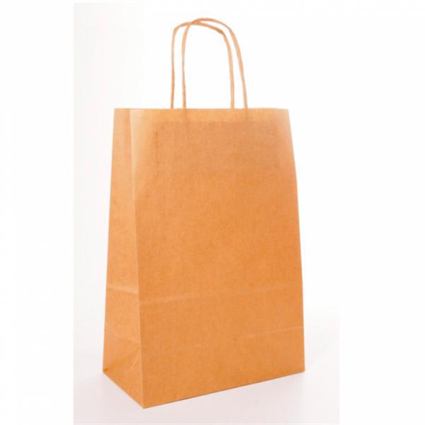 Sacs en papier écru 32+16x31 cm personnalisés avec votre logo 2 couleurs (dès 25 cartons)