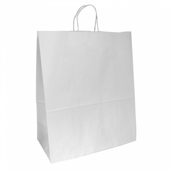 Sacs en papier blanc 40+20x48 cm personnalisés avec votre logo 2 couleurs (dès 25 cartons)
