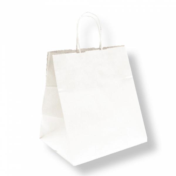 Sacs traiteur en papier blanc 26+20x27 cm personnalisés avec votre logo 2 couleurs (dès 25 cartons)