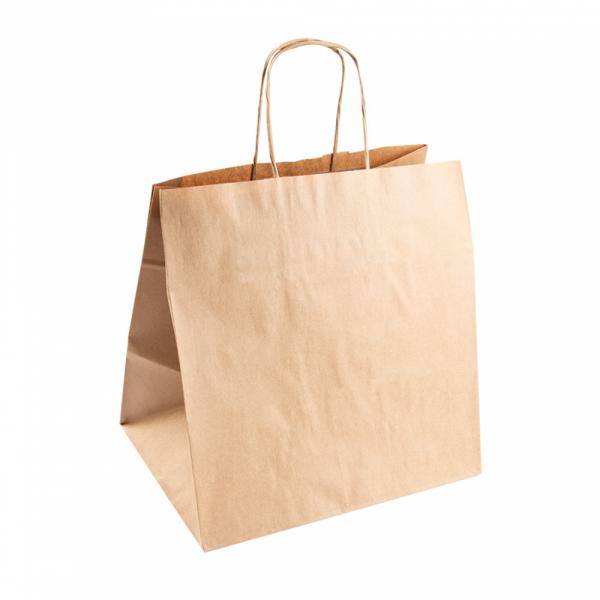 Sacs traiteur en papier écru 26+20x27 cm personnalisés avec votre logo 2 couleurs (dès 25 cartons)