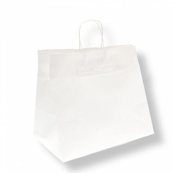 Sacs traiteur en papier blanc 32+21x28.5 cm personnalisés avec votre logo 2 couleurs (dès 25 cartons)