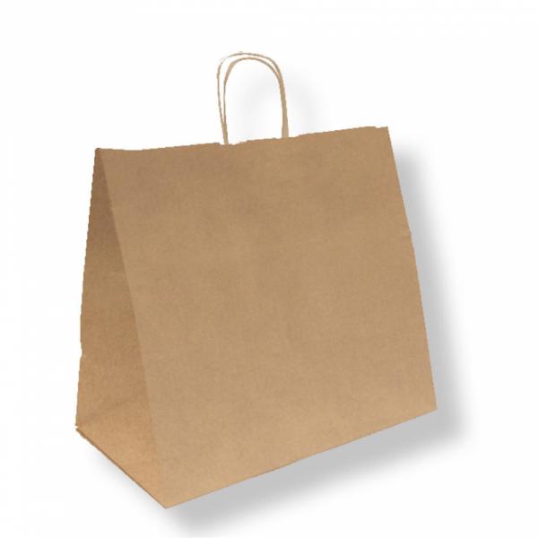 Sacs traiteur en papier écru 36+21x33.5 cm personnalisés avec votre logo 2 couleurs (dès 25 cartons)
