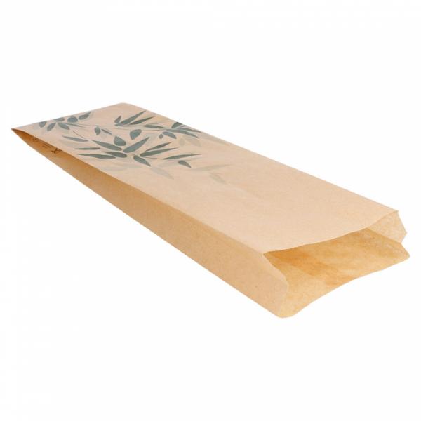Sachets sandwiches en papier écru 12+4x35 cm personnalisés avec votre logo 1 couleur (dès 4 cartons)